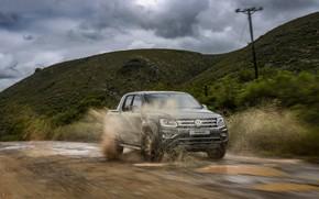 Picture road, squirt, movement, hills, Volkswagen, pickup, Amarok, 2020