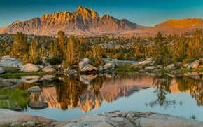 Picture mountains, lake, CA, Eastern Sierra