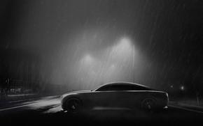 Picture Road, Night, Machine, Light, Rain, Art, The shower, Black and white, Adam Maggs, by Adam …