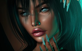 Picture eyes, girl, face, hair, makeup, nails
