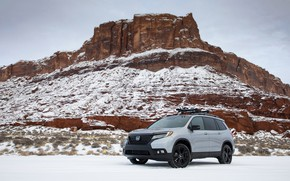 Picture snow, rock, Parking, Honda, 2019, Passport