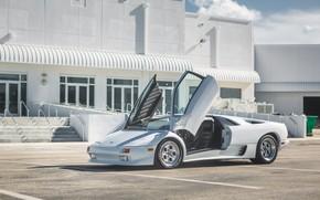 Picture Parking, White, Lamborghini Diablo, Scissor doors, Italian car