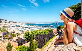 Picture summer, girl, smile, glasses, hat, backpack, long hair, Monaco, tourist