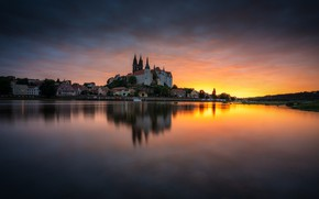 Picture water, sunset, lake, reflection, home, Germany, Saxony, Tits