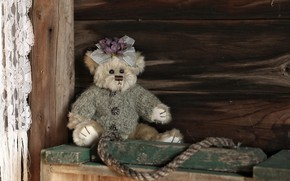 Picture old, childhood, style, retro, background, clothing, toy, dark, Board, rope, bear, hairstyle, bear, girl, buttons, …