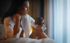 Picture girl, face, coffee, morning, brunette, beauty