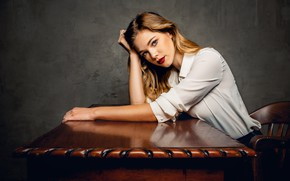 Picture look, girl, pose, table, hair, blouse, sponge