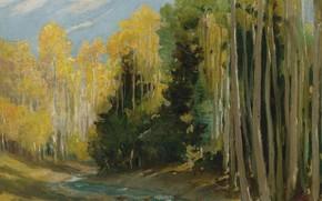 Picture landscape, nature, picture, Joseph Henry Sharp, Aspen Forest. Hondo canyon near Taos, Joseph Henry Sharp