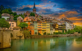 Picture sunset, the city, river, home, Germany, Rhine, Laufenburg