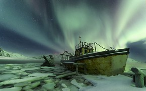 Picture boat, Aurora, Northern lights, Norway