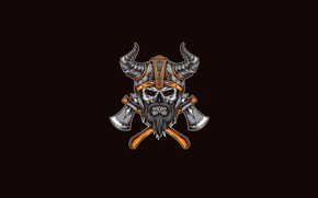 Picture Minimalism, Skull, Style, Warrior, Helmet, Axe, Background, Horns, Art, Art, Style, Background, Minimalism, Axes, inksyndromeartwork, …