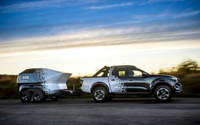 Picture road, the sky, Nissan, pickup, the trailer, 2018, Navara, Dark Sky Concept