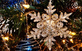Picture toy, tree, New year, snowflake