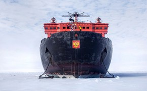 Picture The ocean, Sea, Snow, Ice, Icebreaker, The ship, Coat of arms, Russia, Ice, 50 years …