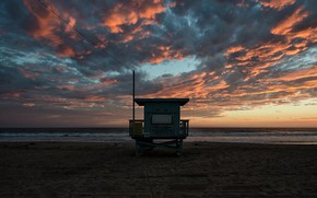 Picture sea, beach, clouds, sunset, booth