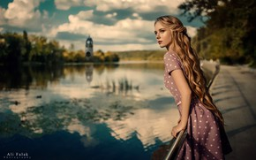 Picture the sun, clouds, trees, pose, river, model, portrait, makeup, dress, hairstyle, beauty, promenade, bokeh, Rus, …