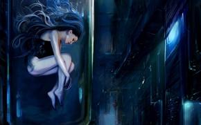 Picture Girl, Night, Street, Girl, Camera, Fantasy, Art, Art, Fiction, The bulb, Cyberpunk, Nastya Shkoda ArtShkoda, …