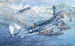 Picture USA, US Navy, Dive bomber, Сurtiss, Deck-based aircraft, SB2C Helldiver
