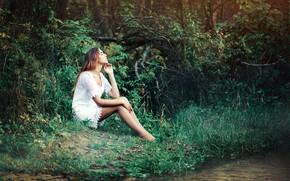 Picture summer, girl, nature, pose, river, dress, Renat Fotov