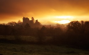 Picture field, autumn, the sky, clouds, light, trees, sunset, fog, castle, the evening, silhouette, haze, the …