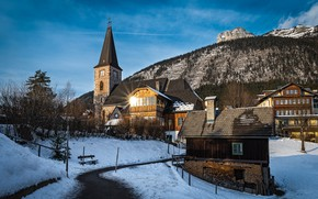 Picture Austria, Church, winter, home, municipality, Altaussee, Altaussee, landscape