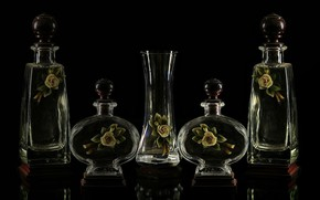 Picture glass, bottles, Decoration, cristal.