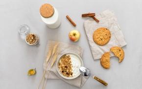 Picture Apple, food, Breakfast, milk, breakfast, milk, muesli, cookies, yogurt, yogurt, oatmeal cookies