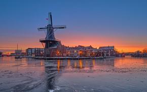 Picture winter, sunset, river, building, home, mill, Netherlands, Netherlands, Haarlem, Haarlem, Spaarne River, The Guy Near …
