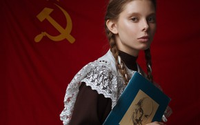 Picture look, girl, face, portrait, flag, book, braids, schoolgirl, Lenin, red flag, Ilya Varichenko