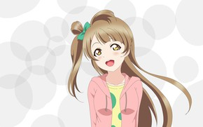 Picture circles, smile, background, girl, Love Live School Idol Project, Living love