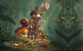 Picture summer, Rosa, fantasy, morning, fantasy, art, house, children's, Nelly Amosova, Fairy's house