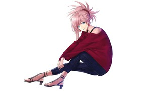 Picture Saber, Fate/Grand Order, Redapple999, Miyamoto Musashi, Shoulder-less Shirt