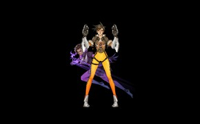 Picture Girl, Fantasy, Art, Style, Background, Minimalism, Characters, Overwatch, Tracer, Sombra, Sora Kim, Tracer and Sombra