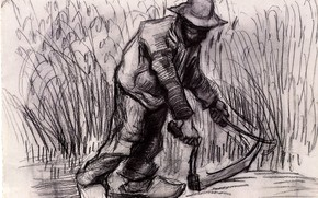 Picture working, hammer, black and white, farmer, Vincent van Gogh, Peasant with Sickle