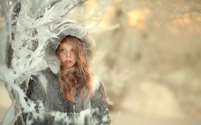 Picture winter, snow, hood, girl, coat, fur, curls