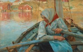 Picture Swedish artist, 1894, Fisherwoman, Swedish painter, oil on canvas, Carl Wilhelmson, Carl Wilhelm Wilhelmson, Carl …