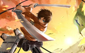 Picture wall, emblem, the battle, swords, military uniform, Shingeki no Kyojin, Eren Yeager, pink sky, drive, …