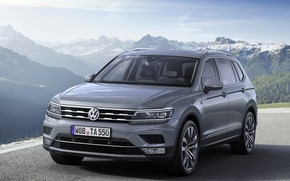 Picture asphalt, mountains, grey, Volkswagen, Tiguan