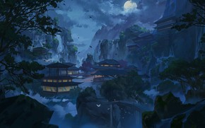 Picture Mountains, Night, Figure, The moon, Palace, Castle, China, Asia, Landscape, Architecture, Art, Illustration, by Xu …