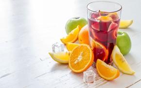 Picture lemon, orange, Apple, Cocktail, Ice, drink, fruit, Juice, sangria, Naumenko Oleksandra