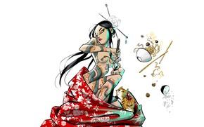 Picture Chest, Minimalism, Japan, Cats, Sword, Naked, Geisha, Japanese, Art, Tattoo, Food, Figure, Katana, Cats, Illustration, …
