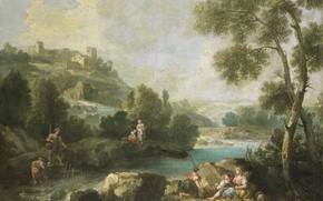 Picture oil, picture, canvas, 1770, Джузеппе Зейс, Пейзаж с фигурами, Giuseppe Zais