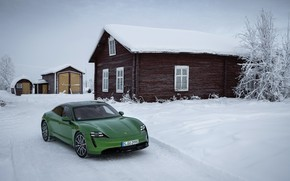 Picture snow, Porsche, green, 2020, the house, Taycan, Taycan 4S
