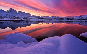 Wallpaper winter, the sky, snow, trees, mountains, lake, reflection, glow