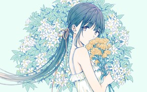 Picture flowers, anime, girl