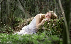 Picture pose, reverie, blonde, girl, forest