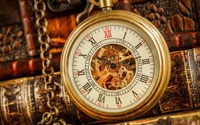 Picture arrows, watch, books, dial, bokeh, closeup, pocket watch