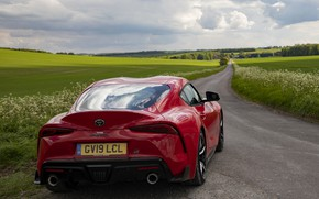 Picture road, red, field, coupe, Toyota, rear view, Supra, the fifth generation, mk5, double, 2019, UK …