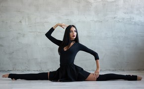 Picture face, pose, flexibility, brunette, beauty, Veronika, stretching