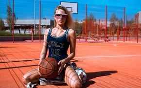 Picture swimsuit, girl, pose, the ball, glasses, basketball, Playground, Daria Klepikova, Arina Mironova